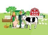 Farm animals with farmers