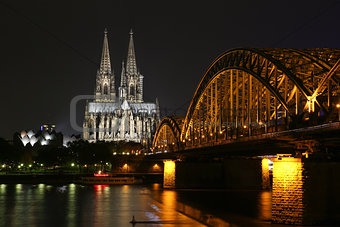 Beautiful night view of the Cologne Cathedral