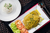 thai fish fillet with asian green curry sauce meal