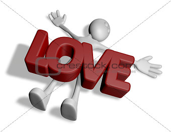 cartoonguy under the word love - 3d rendering