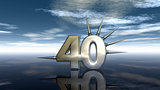 number forty with prickles under cloudy sky - 3d illustration
