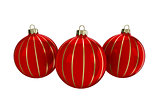 Red and gold decorative Christmas balls. Isolated New Year image.