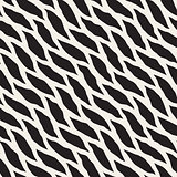 Vector Seamless Black and White Hand Drawn Diagonal Round Shapes Pattern