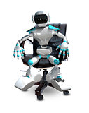 3D Illustration of a Robot in a Chair