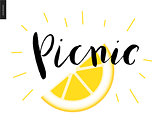 Picnic calligraphic lettering and a slice of lemon
