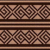 Seamless knitting geometrical pattern in brown hues