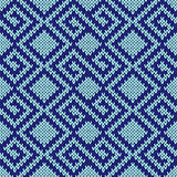 Seamless knitting geometrical pattern in blue hues