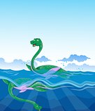 Two funny dinosaurs cartoon swimming in the sea