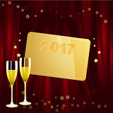 New Years golden tag with date and champagne