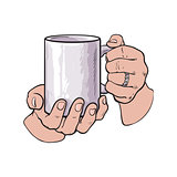 female hand holding a cup with hot beverage