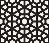 Vector Seamless Black and White Hexagon Lines Pattern