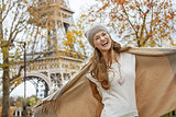 happy young elegant woman in Paris, France having fun time