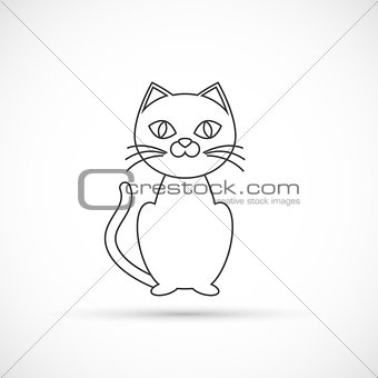 Black cat outline icon