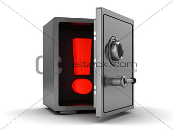 3d safe with exclamation mark