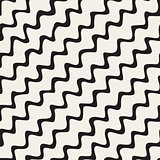 Vector Seamless Black and White Hand Drawn Diagonal Wavy Zigzag Lines Pattern