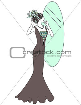 Beautiful retro style woman. Vector illustration. Copy space. Vintage girl looks in the mirror.
