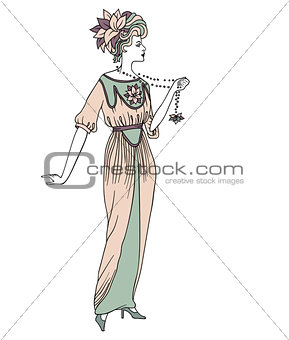 Beautiful retro style woman. Vector illustration. Copy space. Vintage girl with long beads.