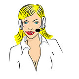 Vector illustration of smiling cute woman working as telephone operator