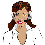 Dispatcher. smiling african woman talking on a headphone.