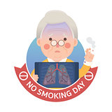 Smoking Lung Problem with No Smoking Day Sign