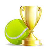 Golden trophy cup with a Tennis ball