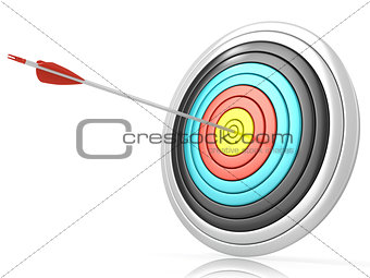 Archery target with one arrow in the center 3D