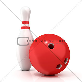 Bowling Ball and pin with red stripes 3D