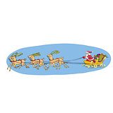 Reindeer sled carries Santa Claus on a sleigh. Christmas