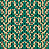 Knitting seamless pattern in turquoise and beige