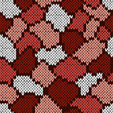 Knitting seamless scrappy pattern in brown, pink and white color