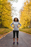 Mixed Race African American Woman Teenager Fitness Running