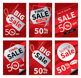 Social media sale banners and ads web template set. Vector illus