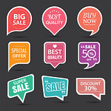 Set of commercial sale stickers, elements badges and labels coll