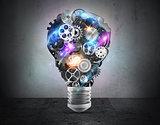 Lightbulb mechanisms of gears. 3D Rendering