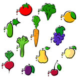 Set of icons vegetables and fruits