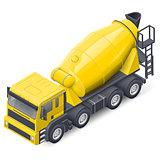 Concrete mixer truck isometric detailed icon