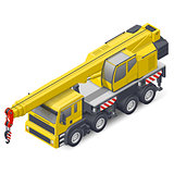 Truck crane isometric detailed icon