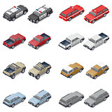 Isometric SUVs, pickup trucks, and service vehicles of police or fire brigade set icon