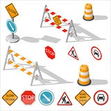 Road barriers and signs isometric detailed icon set