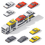 Transportation of vehicles loaded on board the car carrier isometric icon set