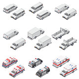 Minivan passenger, cargo, board mini truck commercial van, police and ambulance set icons