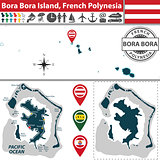 Map of Bora Bora island, French Polynesia