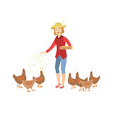 Woman Feeding The Chickens