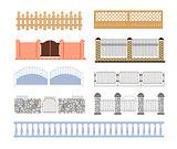Fences Of Different Materialls Set  Designs