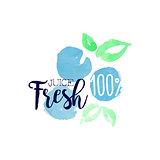 Blueberry 100 Percent Fresh Juice Promo Sign
