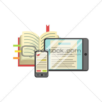 Modern Learning With Book, Smartphone And Tablet