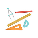 Set Of Geometry Rulers And Compasses