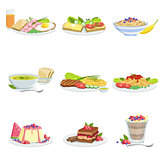 European Cuisine Dish Assortment Menu Items Detailed Illustrations