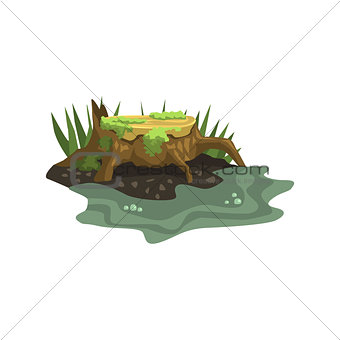 Old Stump Submerged In Water Jungle Landscape Element