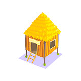 Little Elevated Wooden Hut Jungle Village Landscape Element